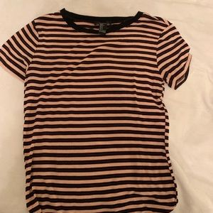 orange white and black striped shirt